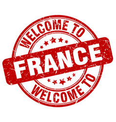 Welcome to france red round vintage stamp vector