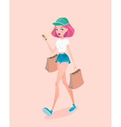 Young hipster girl going down the street with vector