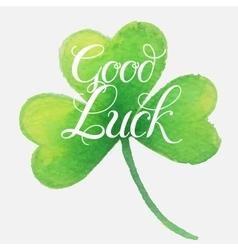 Good luck four leaf clover vector
