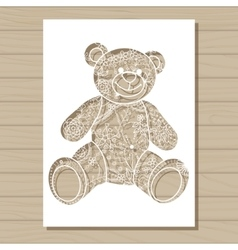Stencil template of bear on wooden background vector