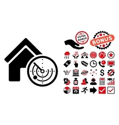 Realty radar flat icon with bonus vector