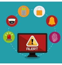 Laptop alert bug lock password bell vector