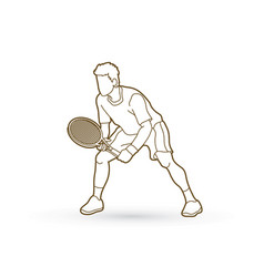 Tennis player action man play tennis outline vector