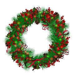 2013 11 020 christmas wreath on white background vector