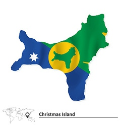 Map of christmas island with flag vector