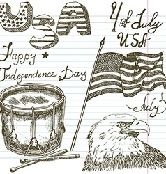 Hand drawn sketch american bald eagle drum and usa vector