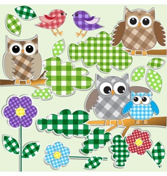 owls and birds in forest vector image