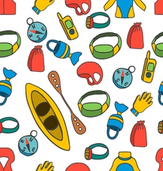 Seamless pattern with equipment for kayaking-4 vector