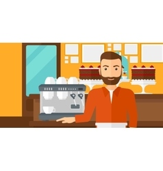 Barista standing near coffee maker vector