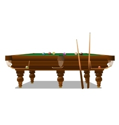 Billiard table with cues on a white background vector