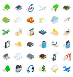 Airport icons set isometric style vector