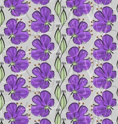 Big purple flower on vine with leaves vector
