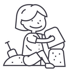boy playing with sand on beach or sandboxscapula vector image vector image
