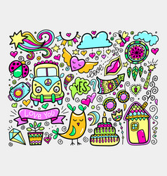 bright sketch drawing doodle elements set lovely vector image vector image