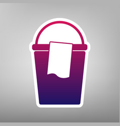 Bucket and a rag sign purple gradient vector