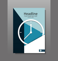 Business cover design a4 with clock vector