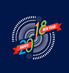fireworks happy new year 2018 background vector image