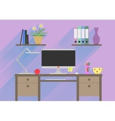 Flat design interior concept of work place with vector image