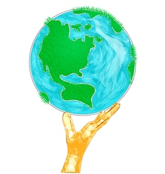 globe with hand vector image