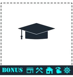 Graduation cap icon flat vector