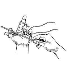 Hands of woman knitting with wool vector