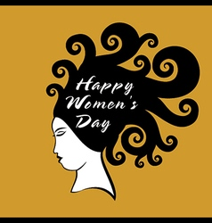 happy women day design women with curly hair vector image