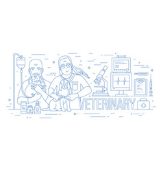 horizontal banner with pair of veterinarians vector image