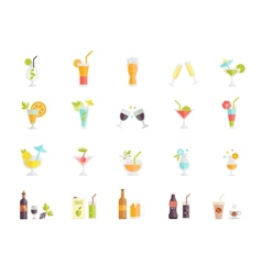 Icons of cocktails and drinks vector