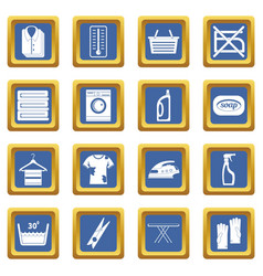 laundry icons set blue vector image