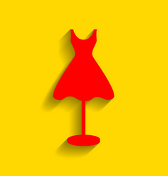 Mannequin with dress sign red icon with vector