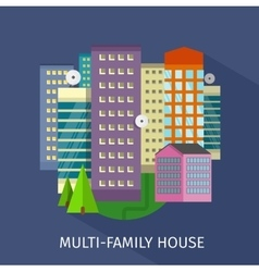 Multi-family house design flat vector