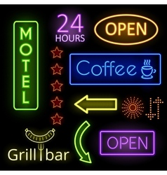 Neon glow signs vector image