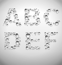 Realistic water drops font from a to f vector