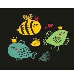 Set of cute animals vector