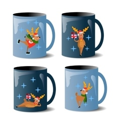 set of mugs with deers vector image vector image