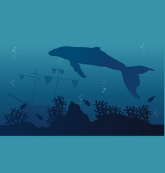 Silhouette of big whale and ship landscape vector