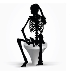 Skeleton silhouette in thinking pose vector