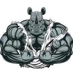 Strong rhinoceros athlete vector