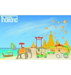 Thailand travel concept cartoon style vector