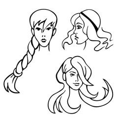women hairstyles vector image