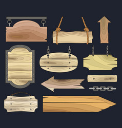 Wood banners boards vector