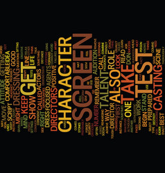 Your first screen test text background word cloud vector