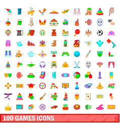 100 games icons set cartoon style vector