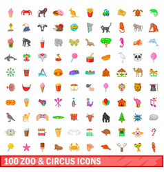 100 zoo and circus icons set cartoon style vector