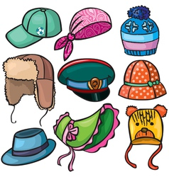 Headwear set of icons vector image