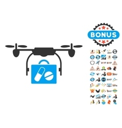 Airdrone pharmacy delivery icon with 2017 year vector