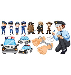 Police officers and police car set vector image