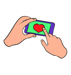 Smartphone in hands with heart on the screen icon vector