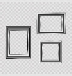 set of silver frame isolated on white background vector image
