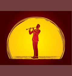 Clarinetist player a man play clarinet classic mu vector